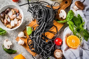 Raw black cuttlefish ink pasta