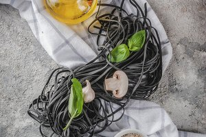 Raw black cuttlefish pasta