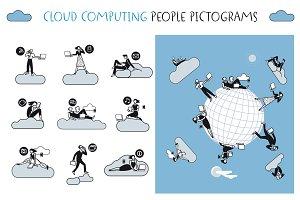 Cloud Computing People Pictograms