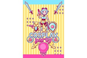 Japanese anime cosplay party invitation. Cute kawaii characters and items