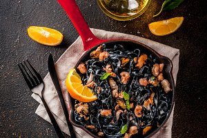 Black pasta with seafood