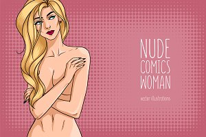 Beautiful nude woman in comics style