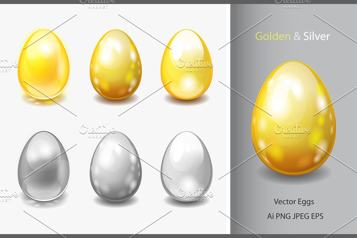 Golden & Silver vector Eggs