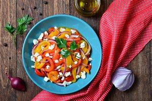 Baked Bell Pepper Salad, Vegetable Salad