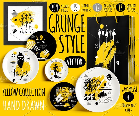 Grunge Style Yellow Collection