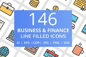 146 Business & Finance Filled Icons