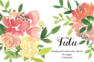 Handpainted watercolor flowers