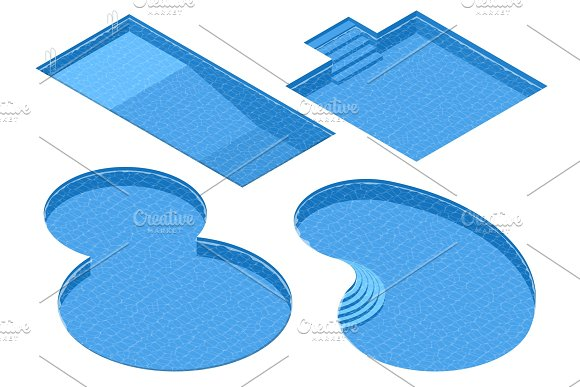 Isometric Set Different Forms Swimming Pools Rectangular Square Double Round Oval Pool