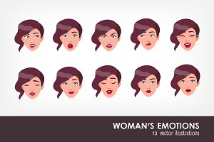 Set of woman's emotions