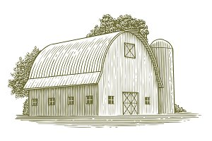 Woodcut Round Roof Barn