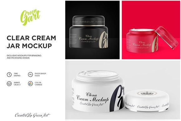 Download 3 PSD Clear Cream Jar Mockup