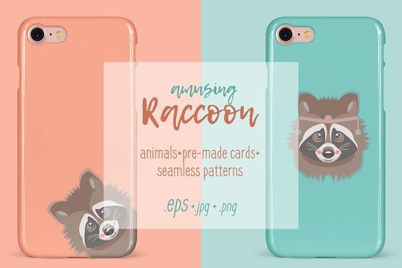Amusing raccoon vector set