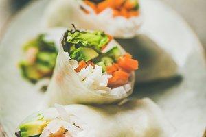 Shrimp & vegetable rice paper rolls