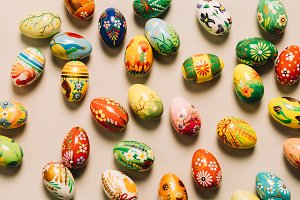 Bunch of colorful decorated eggs on