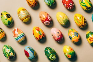 Bunch of colorful handpainted eggs.