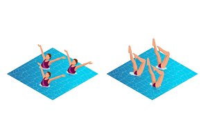 Isometric womans athlete on the performance of synchronized swimming performing art elements. Swimming sportswoman, swimmer team, water dance