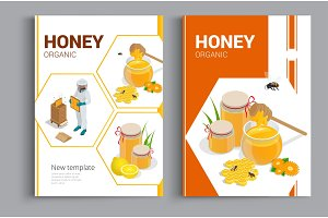 Organic raw honey design brochure. Abstract composition. A4 brochure cover design of honey. Fancy title sheet model. Creative vector front page art. Banner form texture.