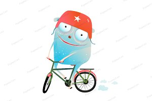 Monster and Bicycle Kids Cartoon