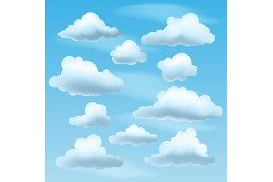 Set of Vector Clouds on blu sky background.