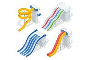 Isometric colorful water slides and tubes, aquapark equipment, set for label design. Swimming pool and water slides Vector illustration isolated on white background