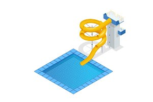 Isometric colourful water slide and tubes with pool, aquapark equipment, set for design. Swimming pool and water slides Vector illustration isolated on white background