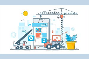 app development process. Construction of web design.Vector illustration in flat linear style