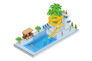 Isometric Aqua Park with water slides, water pool, people or visitors and palms. Vector illustration isolated on white background