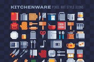 Kitchenware pixel art icons set