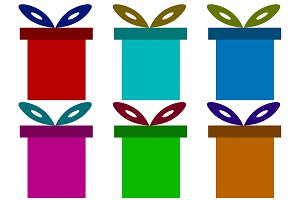 Illustration of six gift boxes