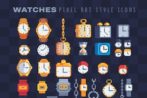 Watches pixel art icons set