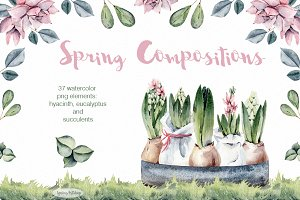 Spring watercolor compositions