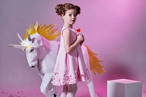 romantic girl pink. pink dress kid. child fashion concept.
