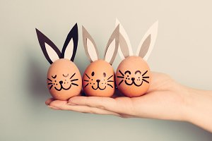 Three little Easter bunnies made fro