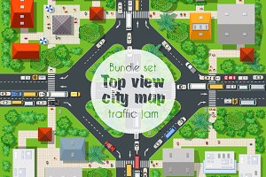 Bundle set traffic car top view city