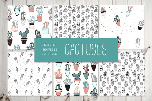 CACTUSES 6 Seamless Patterns