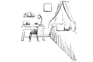 Hand drawn children room. Furniture sketch. Baby bed