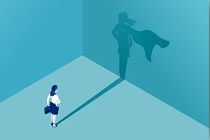 Businesswoman superhero shadow