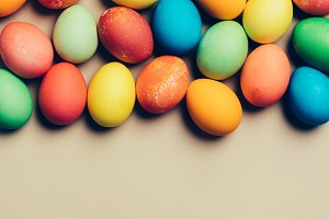 Textured colorful eggs laying on the