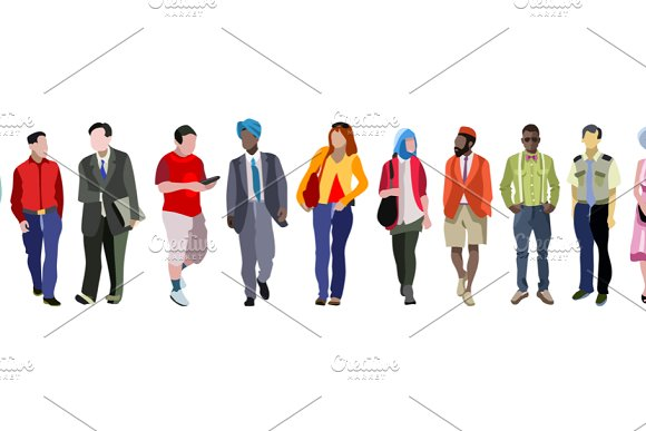 Multiethnic Group Of People Banner