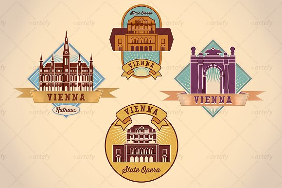 Retro-styled Vienna tour labels (4x)