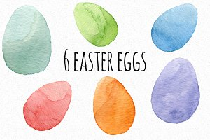 12 watercolor easter eggs
