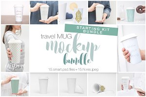 Ceramic Travel Mug Mockup Bundle PSD