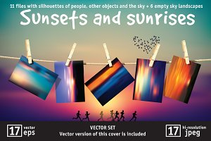 Sunsets and sunrises vector set