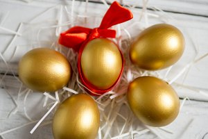 five Golden Easter eggs