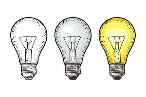 Glowing light incandescent bulb. Vector vintage engraving on white background