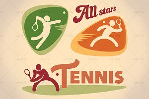 Set of tennis tournamet labels (3x)