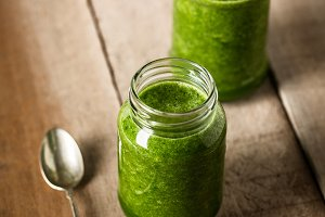 Two green juice glass