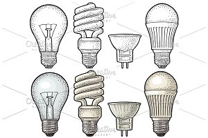4 type lamp - bulb halogen cfl led
