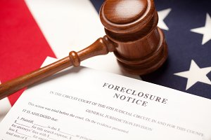 Gavel, American Flag and Foreclosure