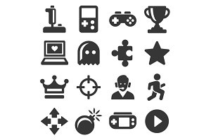 Video Game and Controller Icons Set